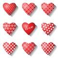 Geplaatste de pictogrammen van het hart. Stock Afbeelding