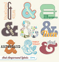 Geplaatste vector: Retro Etiketten Ampersand en Stickers Stock Foto