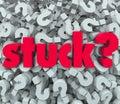 Geplakte word vraag mark background caught problem Stock Afbeeldingen