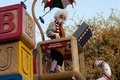 Geppetto rides on a float in disneyland parade is riding top of the giant toy factory s christmas fantasy very popular Stock Photos