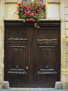 Geranium flowers above an old door in paris france Royalty Free Stock Photo