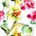 Geranium and narcissus flowers watercolor seamless wallpaper with Stock Images