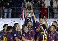 Gerard pique lifts the uefa champions league trophy barcelona players pictured during award ceremony held after final between Royalty Free Stock Photos