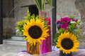 Gerbera flowers and sunflowers bouquets Royalty Free Stock Photo