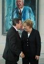 Gerhard Schroeder, Angela Merkel Royalty Free Stock Photo