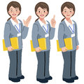 Geriatric care manager in different gestures portraits of full length gesture Stock Photos