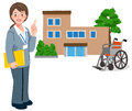 Geriatric care manager and retirement home full length portraits of with wheel chair in the background Stock Image
