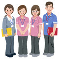 Geriatric care manager and social workers full length portraits of three in white background Royalty Free Stock Images
