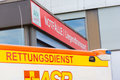 German ambulance vehicle stands on hospital