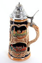 German beer stein with heidelberg schloss and nurnberg written on it Royalty Free Stock Photo