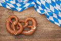 German bretzels on wooden background Royalty Free Stock Image