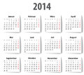 German calendar for with shadows mondays first vector illustration Royalty Free Stock Images