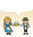German cartoon couple bubble dialogue man and woman with vector illustration layered for easy editing Stock Image