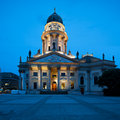 German cathedral on gendarmenmarkt new church deutscher dom or in the evening Royalty Free Stock Photography