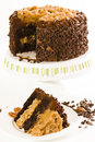 German chocolate cake with two layers of chocolate cake filled and topped with classic german chocolate filling a caramel goo of Royalty Free Stock Photo