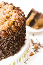 German chocolate cake two layers chocolate cake filled topped classic german chocolate filling caramel goo coconut pecans covered Stock Photos