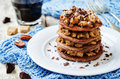 German chocolate pancakes with coconut and chocolate Royalty Free Stock Photo