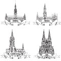 German city icon collection travel label set hamburg munich koln frankfurt am main germany europe hand drawn town symbol set Stock Photography