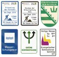 German construction site information sign - Renovation of surface until septemter 2018 - Length 8 km - We build for you