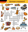 German crossword, education game for children, musical instruments