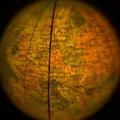 Fisheye view german democratic republic on vintage globe Royalty Free Stock Photo