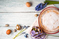 German Easter cake with decoration and flower on the white wooden table Royalty Free Stock Photo