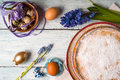 German Easter cake with decoration and flower on the white wooden table top view Royalty Free Stock Photo