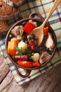 German eintopf soup with meat and vegetables close-up vertical t Royalty Free Stock Photo