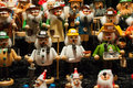 German figurines closeup of colorful displayed at the street market at christmastime Stock Photography
