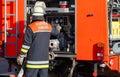 German Fire Department firefighter on Fire Truck
