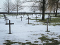 German first world war military cemetery at vermandovillers fra france january black crosses in in germany Royalty Free Stock Photo