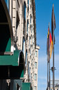 German flags on berlin street row of in germany Stock Photos