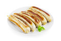 German fried sausages plate white Royalty Free Stock Images