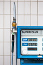 German gas station super unleaded a with Stock Image