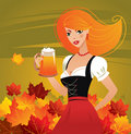 German girl serving beer Stock Images