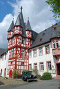 German half-timbered house with antique car Stock Photography