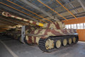 German heavy tank pzkpfw vi tiger in hangar Royalty Free Stock Photos