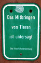 German no animals sign in cemetery Royalty Free Stock Photo
