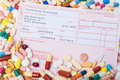 German prescription within various pharmaceuticals health concept Stock Photography