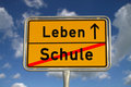 German road sign school and life Royalty Free Stock Photos
