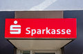 German savings bank marburg germany april red sign post of a sparkasse Royalty Free Stock Photos