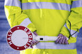 German school crossing guard rear view stop children Stock Images