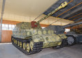 German self propelled gun ferdinand in hangar Stock Photography