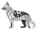 German shepherd dog head zentangle stylized, vector, illustration