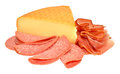 German Smoked Cheese And Salami Meat Royalty Free Stock Photo