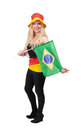 German soccer fan cheering for germany and brasil on white background Royalty Free Stock Photo