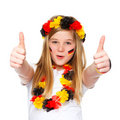 German soccer fan with thumbs up Royalty Free Stock Photography