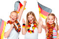 German soccer fans cheering Stock Images