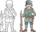 German soldier, world war one, coloring book Royalty Free Stock Photo