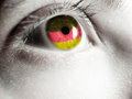 German supporter flag on the eye Stock Image